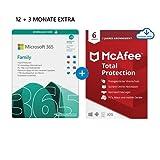 Microsoft 365 Family 12+3 Monate Abonnement   6 Nutzer   Mehrere PCs/Macs, Tablets/mobile Geräte   Download Code + McAfee Total Protection 2020   6 Geräte  12 Monate Abonnement   Download Code