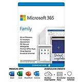 Microsoft 365 Family | 6 Nutzer | Mehrere PCs/Macs, Tablets und mobile Geräte | 1 Jahresabonnement | Download Code