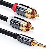 deleyCON 2m Klinkenkabel Cinch Kabel 3,5mm Klinke zu Cinch RCA Stereo Audio Kabel 1x Klinkenstecker auf 2x RCA Cinch Stecker Metallstecker Schwarz