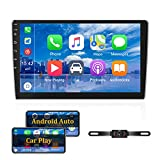 Android Doppel-Din-Autoradio mit Carplay 10.1'' Touchscreen-Autoradio-Unterstützung Bluetooth, WiFi, GPS, FM, SWC + Rückfahrkamera und externes Mikrofon