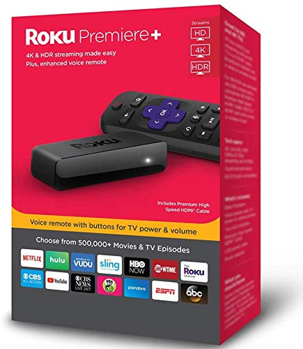 Roku Premiere+ 3921RW 4K HD HDR Media Streamer with Enhanced Voice Remote 2018