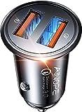 AINOPE USB Zigarettenanzünder Adapter, [Dual QC3.0 Port] 36W/6A Ladegerät für Auto Mini Metal Legierung KFZ USB Ladegerät Schnellladung Kompatibel mit iPhone 12/11/XS/XR, Note 9/Galaxy S10/S9, iPad